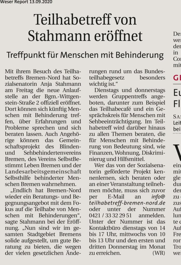 Bericht Teilhabetreff aus dem Weser Report