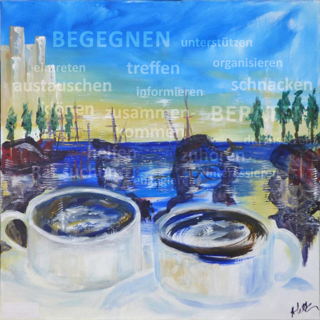 Acrylgemälde des Bremer Künstlers Andreas Wick zum Teilhabetreff in Bremen Nord, 80x80cm