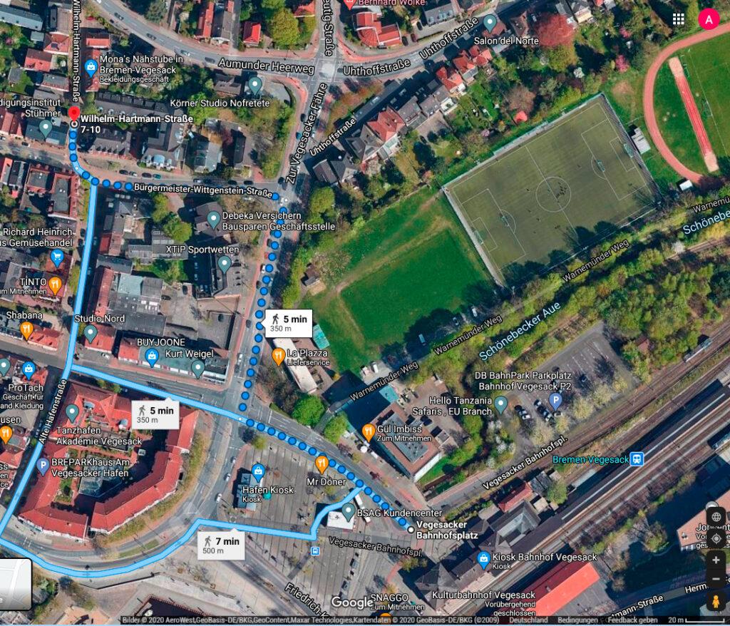 Fussweg vom Bahnhof Vegesack zum Teilhabetreff