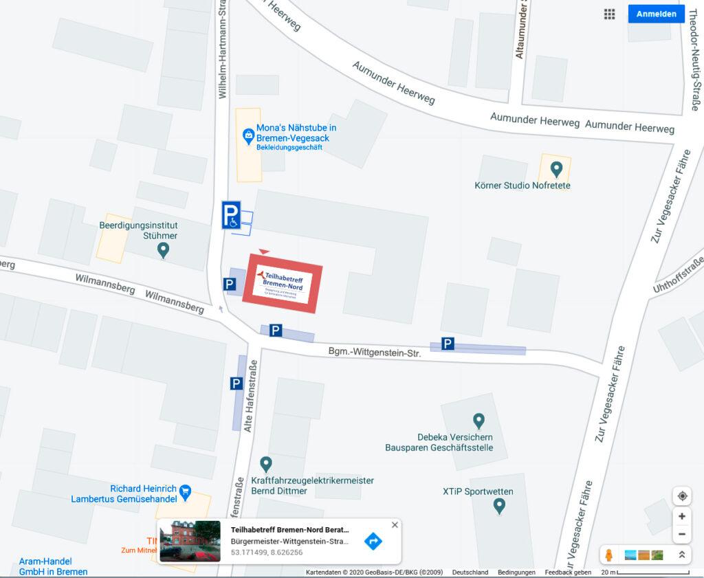Landkarte Teilhabetreff googlemaps